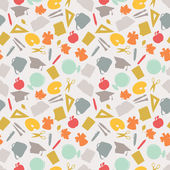 School seamless pattern with education icons and symbols. — Vetorial Stock