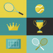Tennis icon set in flat design style. — Stock Vector #48695251