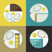 Sports backgrounds with tennis icons in flat design style. — Stock Vector