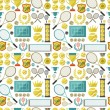 Sports seamless pattern with tennis icons in flat design style. — Stock Vector #48713409