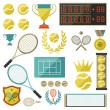 Tennis icon set in flat design style. — Stock Vector #48713411