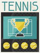 Tennis. Retro poster in flat design style. — Stock vektor