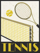 Tennis. Retro poster in flat design style. — Stock Vector