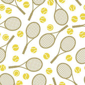 Sports seamless pattern with tennis icons in flat design style. — Stock Vector