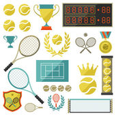 Tennis icon set in flat design style. — Stock Vector