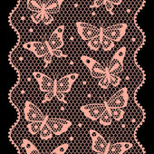 Seamless vintage fashion lace pattern with butterflies. — Stock Vector