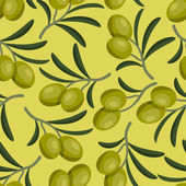 Seamless vector pattern with fresh ripe olive branches. — Stock Vector