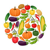 Background design with fresh ripe stylized vegetables. — Stock Vector