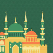 Islamic greeting card with mosque in flat design style. — Vector de stock