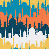 Islamic seamless pattern with mosques in flat design style. — Stock Vector