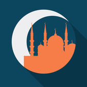 Islamic greeting card with mosque in flat design style. — Stock Vector