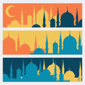 Horizontal banners with Islamic mosques in flat design style. — ストックベクタ