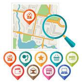 Město mapa abstraktní pozadí se sadou různých značek. — Stock vektor