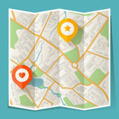 Abstract city folded map with location markers. — Stockvector