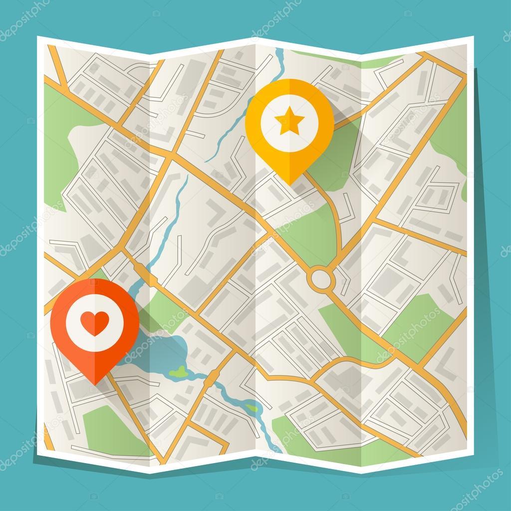 抽象的城市与折叠位置标记的地图
