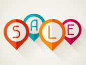 Sale poster with location markers in flat design style. — Stock Vector
