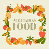 Vegetarisch voedsel. ontwerp van de achtergrond met gestileerde groenten. — Stockvector