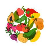 Comida vegetariana. diseño de fondo con vegetales estilizados. — Vector de stock