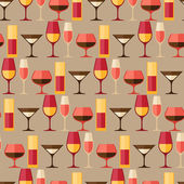 Restaurant or bar seamless pattern with different glasses. — Stock Vector