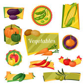 Banners, ribbons and badges with stylized vegetables. — Stock Vector