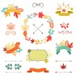 Autumn leaves set of wreath, ribbons and labels. — Stock Vector #49681217