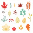Set of various stylized autumn leaves and elements. — Stock Vector #49681381
