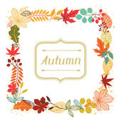 Background of autumn leaves in shape for greeting cards. — Stock Vector