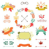 Autumn leaves set of wreath, ribbons and labels. — 图库矢量图片