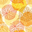 Seamless vector pattern with stylized autumn leaves. — Stock Vector