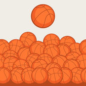 Sports seamless pattern with basketball icons in flat style. — Stock Vector