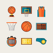 Basketball icon set in flat design style. — Stock Vector