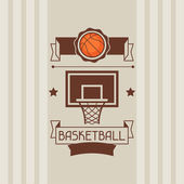 Background with basketball, ball, hoop and labels. — Stock Vector