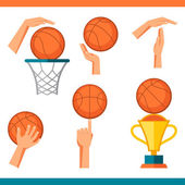 Basketball icon set of gestures and symbols in game. — Stock Vector