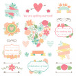 Wedding collection of decorations, flowers, ribbons and labels. — Stock Vector #49942385