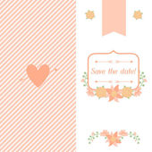Wedding invitation card with pretty stylized flowers. — Stok Vektör