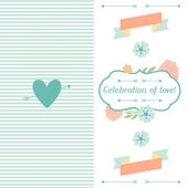 Wedding invitation card with pretty stylized flowers. — Stock vektor
