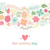 Wedding invitation card with pretty stylized flowers. — Vecteur