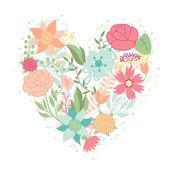 Tarjeta de invitación con flores muy estilizadas en forma de corazón. — Vector de stock