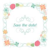 Wedding invitation card with pretty stylized flowers. — Stockvektor