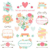 Wedding collection of decorations, flowers, ribbons and labels. — Stock Vector