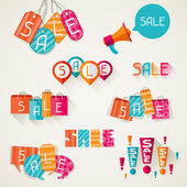 Shopping bags, price labels in flat design style. — Stock Vector