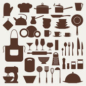 Kitchen and restaurant icon set of utensils. — Stock Vector
