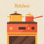 Card with kitchen oven and cooking utensils in retro style. — Stock Vector
