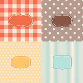Set of four patterned backgrounds with frames. — Stock Vector