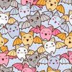 Seamless kawaii cartoon pattern with cute bats. — Stock Vector #50280993