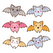Set of kawaii bats with different facial expressions. — Stock Vector #50281101