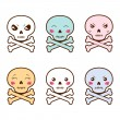 Set of kawaii skulls with different facial expressions. — Stock Vector #50281167