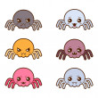 Set of kawaii spiders with different facial expressions. — Stock Vector #50281191