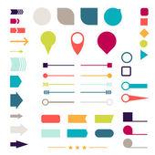 Elemanları, belirteçler, oklar ve tasarım için bölücüler seti. — Stok Vektör