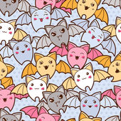Seamless kawaii cartoon pattern with cute bats. — Stock Vector